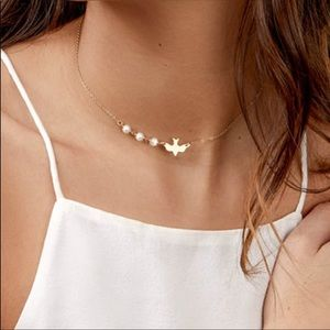 Peace Dove & Pearl Choker Necklace